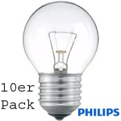 10er Pack Philips TROPFEN/ball 40W klar E27 SINGLE