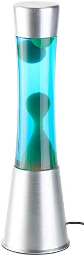 Lunartec Lavalampe für Nachttisch: Lavalampe mit blauer Flüssigkeit & grünem Wachs, Glas & Aluminium (Lavalampe mit Leuchtmittel) - 1